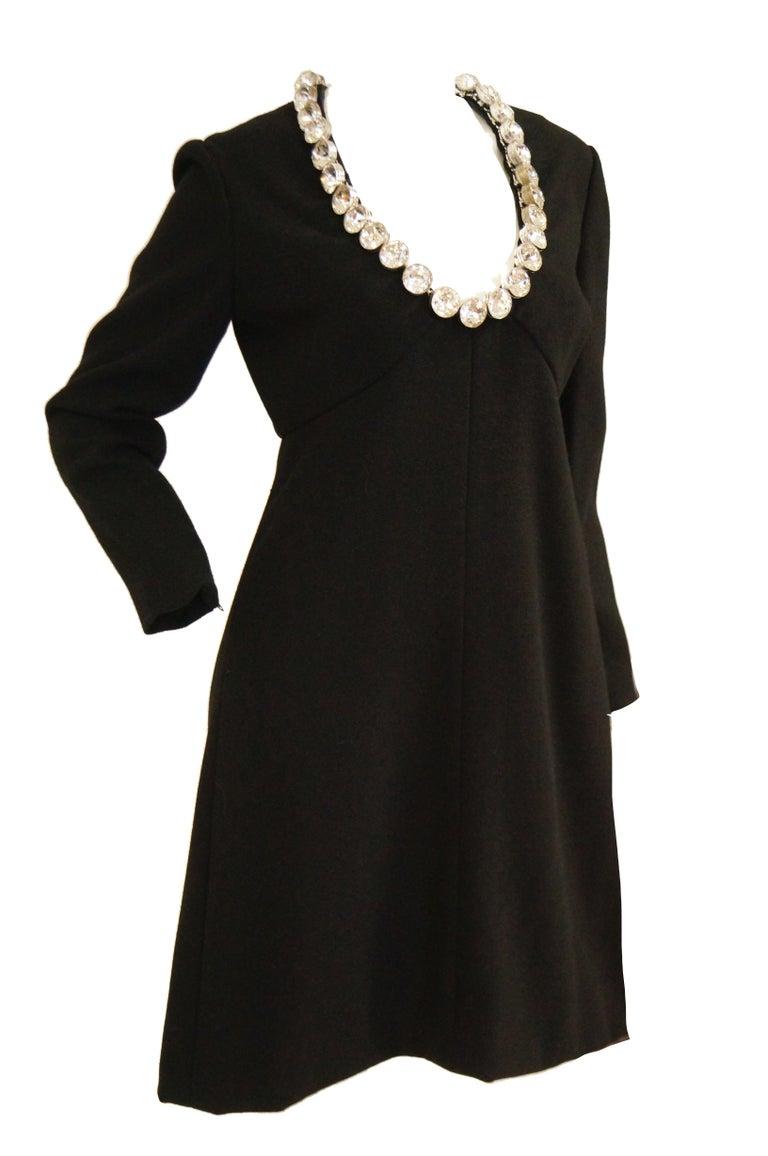 1960s Donald Brooks Black Cocktail Dress with Riviera Rhinestone Neckline For Sale 1