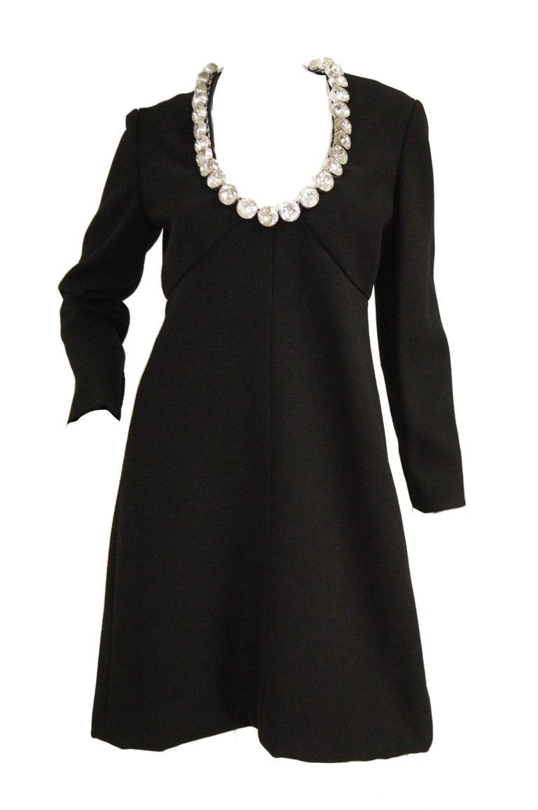 1960s Donald Brooks Black Cocktail Dress with Riviera Rhinestone Neckline For Sale 2