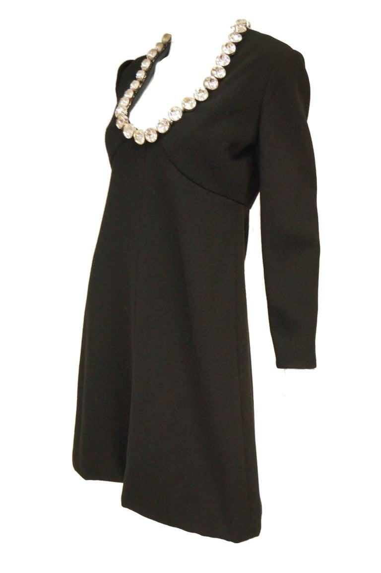 1960s Donald Brooks Black Cocktail Dress with Riviera Rhinestone Neckline For Sale 4