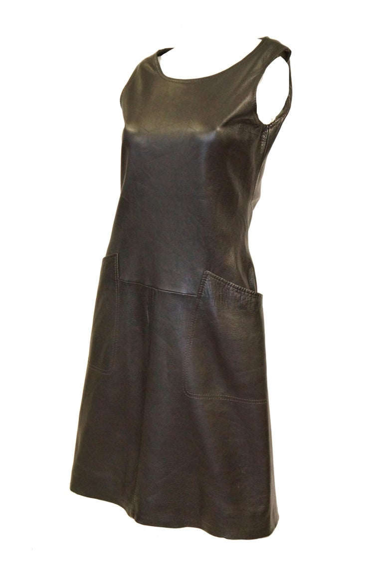 1960s Black Lambskin Leather Shift Dress In Excellent Condition For Sale In Houston, TX