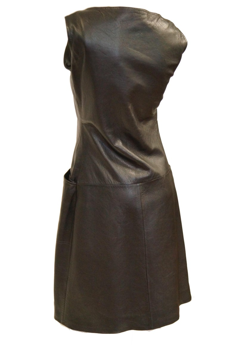 1960s Black Lambskin Leather Shift Dress For Sale 3
