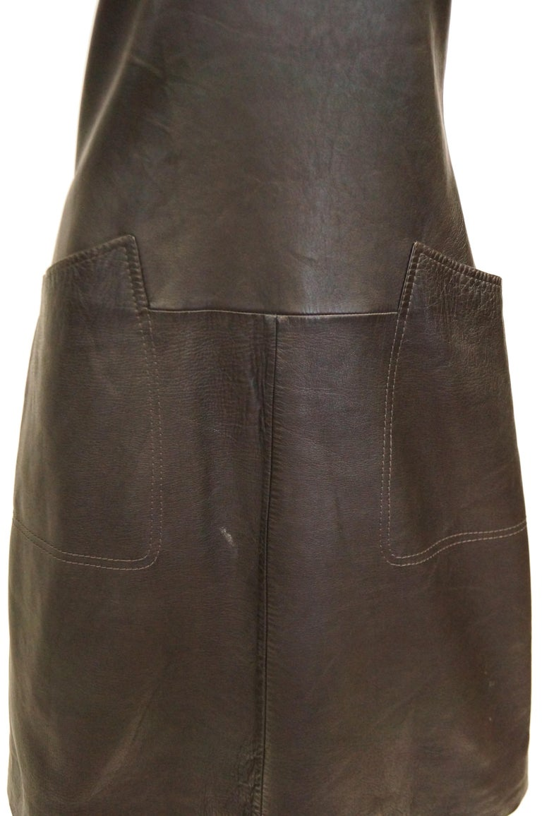 Women's 1960s Black Lambskin Leather Shift Dress For Sale