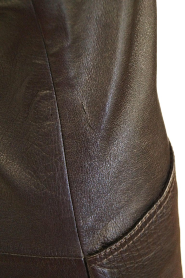 1960s Black Lambskin Leather Shift Dress For Sale 1