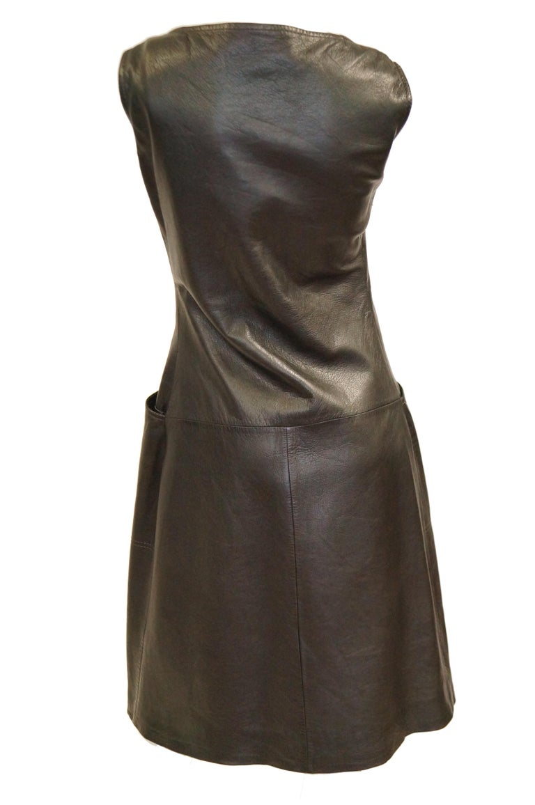 1960s Black Lambskin Leather Shift Dress For Sale 2