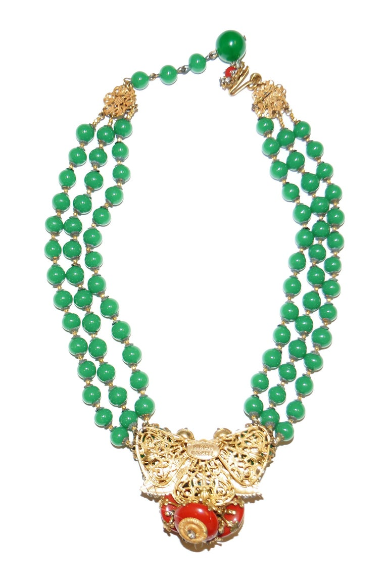 1950s Miriam Haskell Green and Umber Glass and Rhinestone Floral Choker For Sale 4