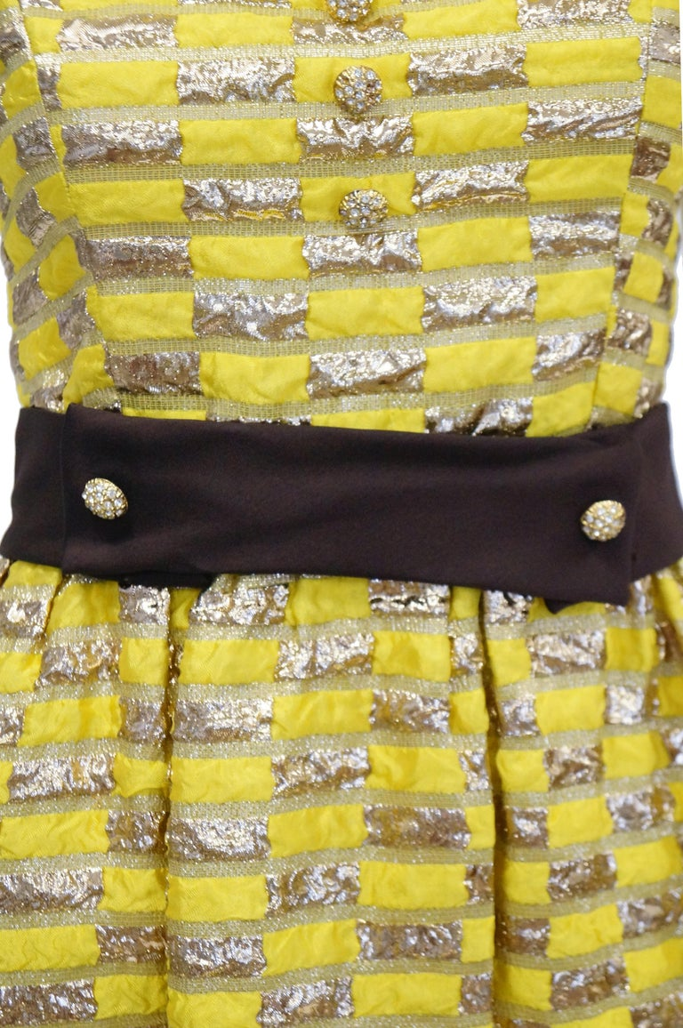 Brown 1960s Oscar de la Renta Yellow and Gold Checkerboard Print Evening Dress For Sale