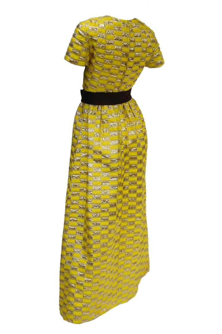 Women's 1960s Oscar de la Renta Yellow and Gold Checkerboard Print Evening Dress For Sale