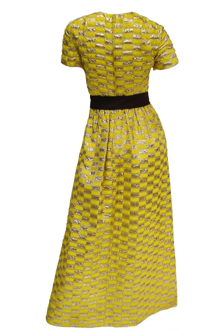 1960s Oscar de la Renta Yellow and Gold Checkerboard Print Evening Dress For Sale 1