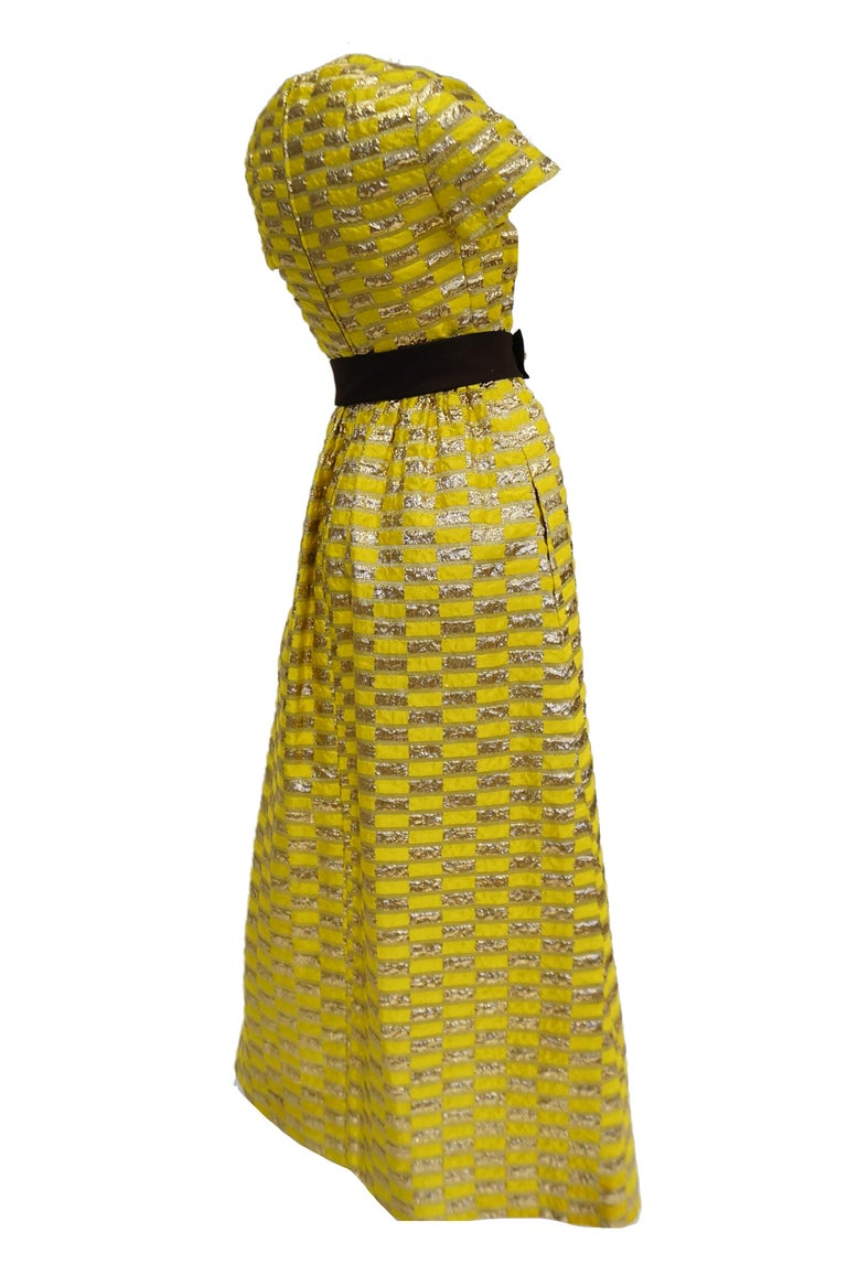 1960s Oscar de la Renta Yellow and Gold Checkerboard Print Evening Dress For Sale 2