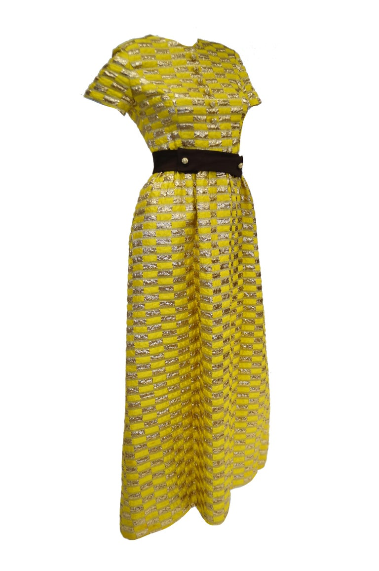 1960s Oscar de la Renta Yellow and Gold Checkerboard Print Evening Dress For Sale 3