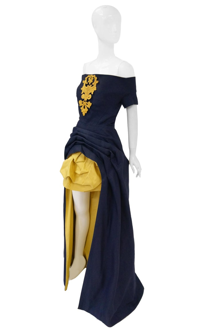 1991 Christian Lacroix Couture Navy Linen and Gold Silk Shantung Evening Gown 32 For Sale 1