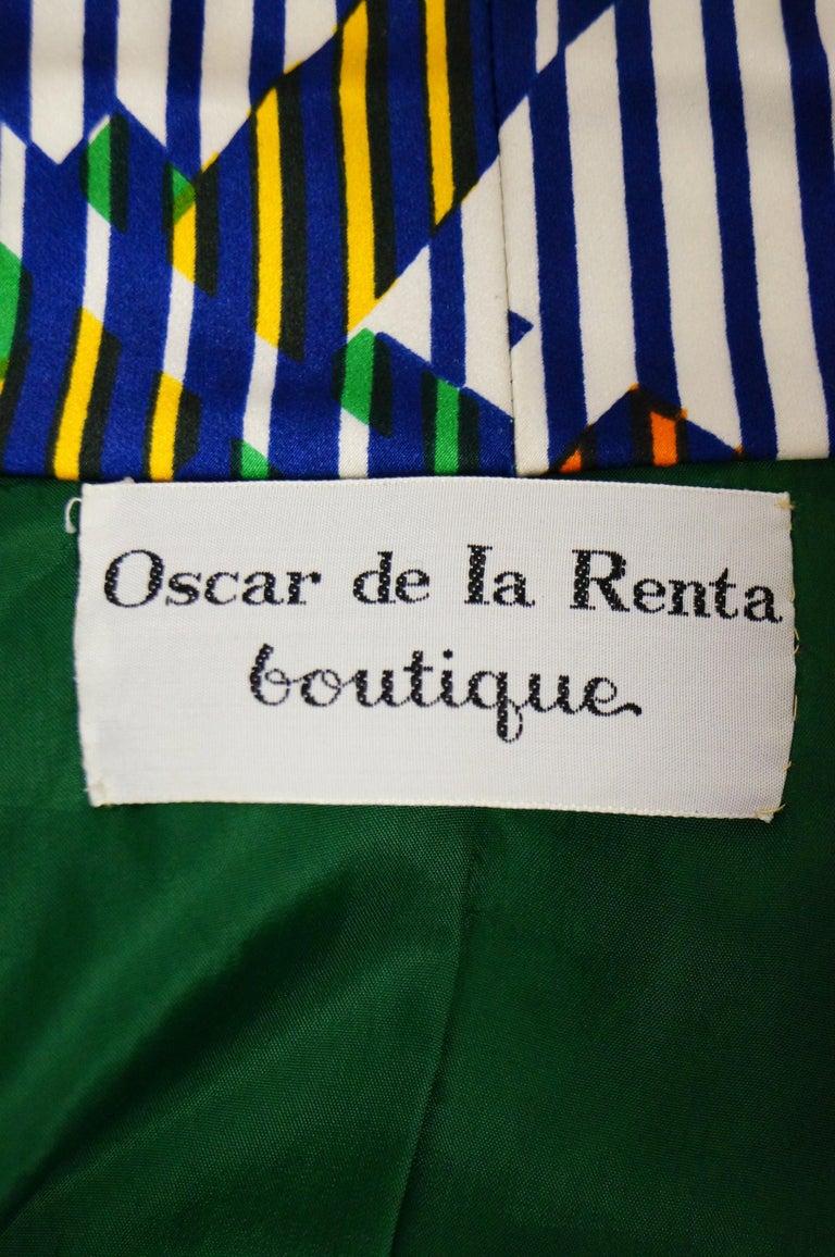 1970s Oscar de la Renta Green Plaid Satin & Knit Dress & Jacket Ensemble For Sale 7