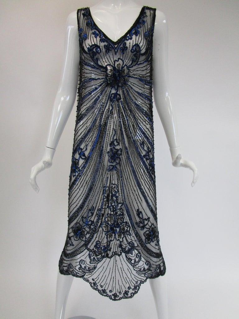 1920s Black Net Blue Sequin and Beaded Flapper Dress 3