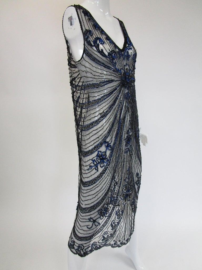 1920s Black Net Blue Sequin and Beaded Flapper Dress 6