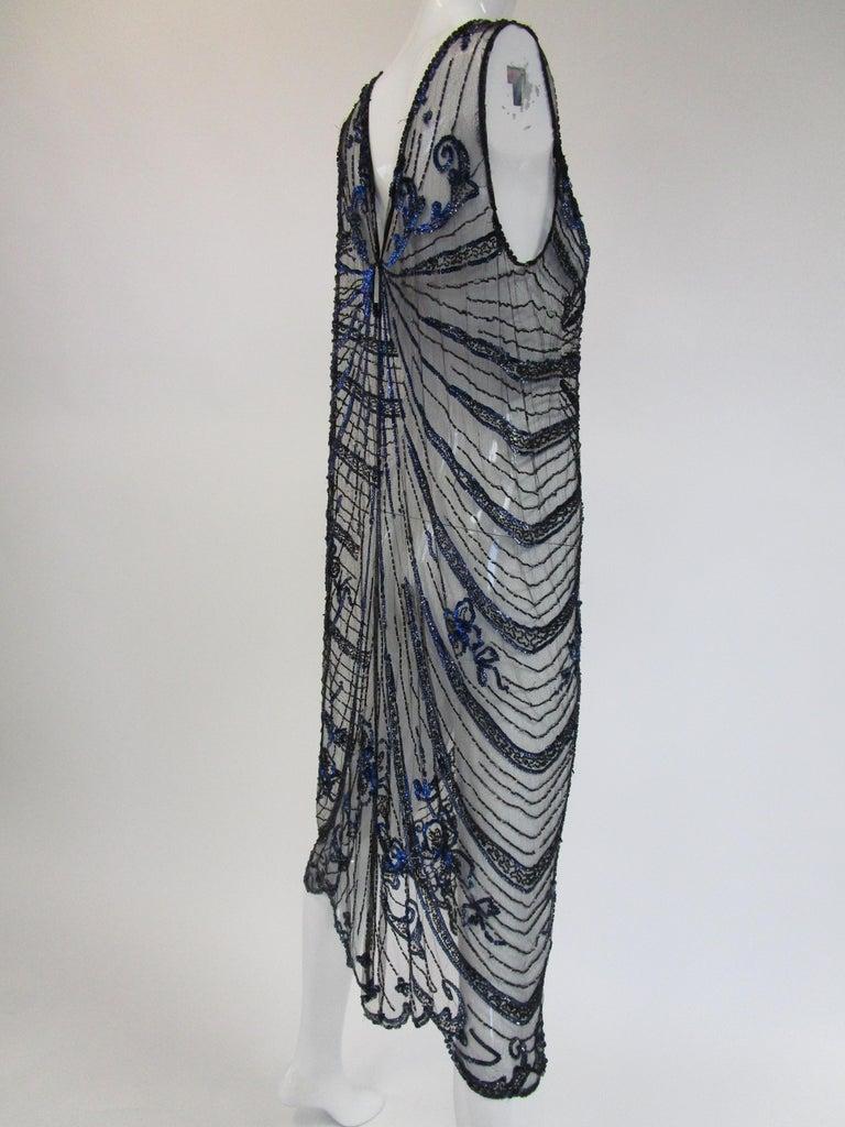 1920s Black Net Blue Sequin and Beaded Flapper Dress 7