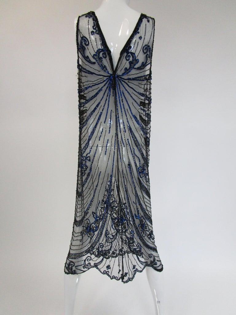 1920s Black Net Blue Sequin and Beaded Flapper Dress 8