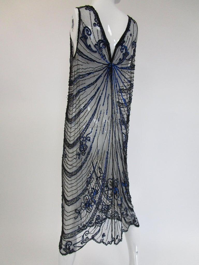 1920s Black Net Blue Sequin and Beaded Flapper Dress 9