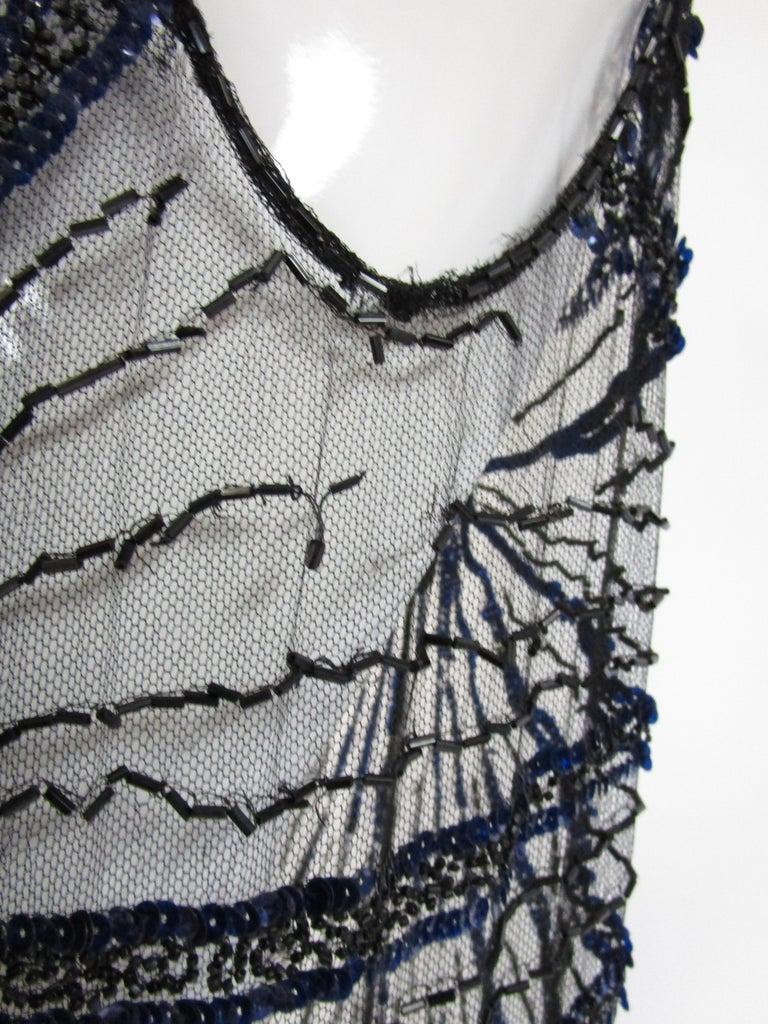 1920s Black Net Blue Sequin and Beaded Flapper Dress 10