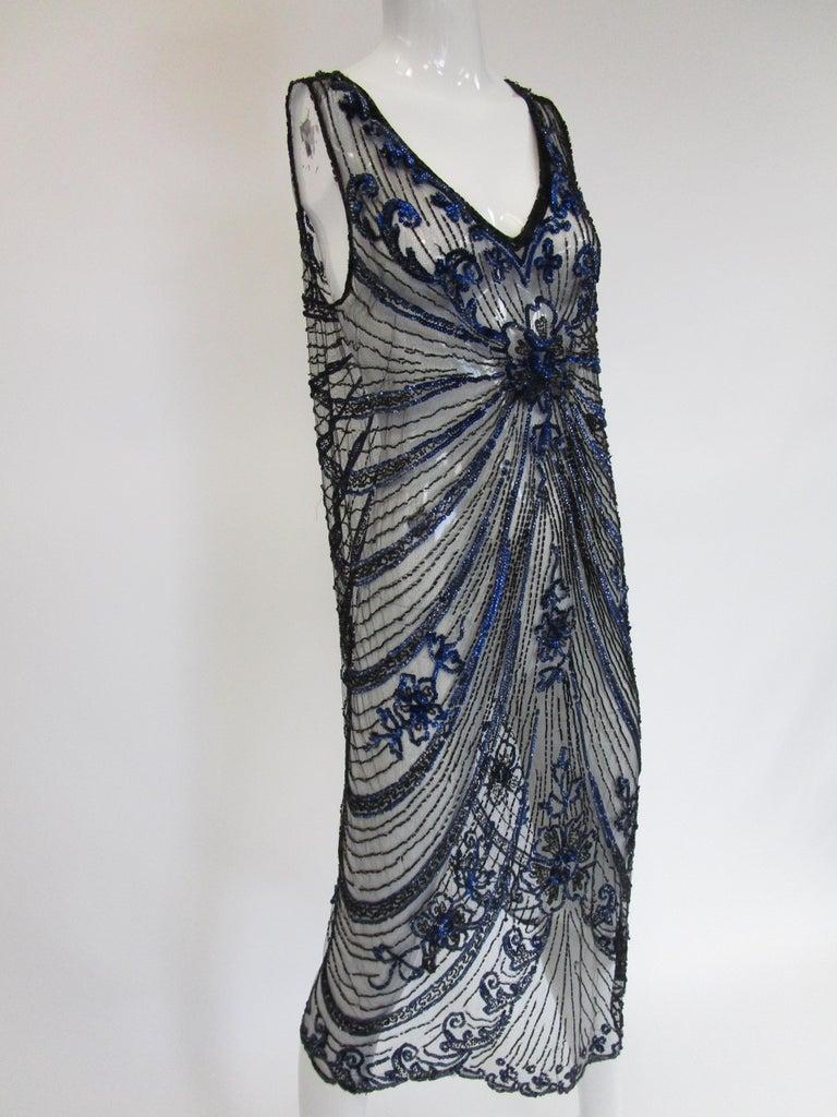 1920s Black Net Blue Sequin and Beaded Flapper Dress 11