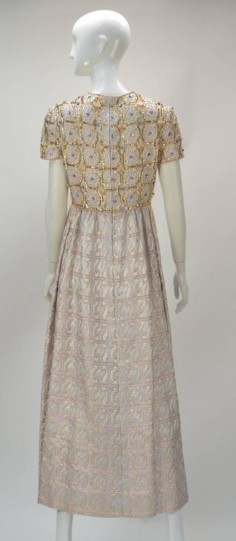 Gray Gino Charles Metallic Gold Brocade Sequin Evening Dress, 1960s   For Sale