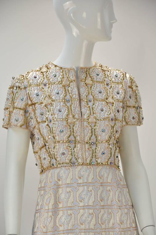 Gino Charles Metallic Gold Brocade Sequin Evening Dress, 1960s   In Good Condition For Sale In Houston, TX