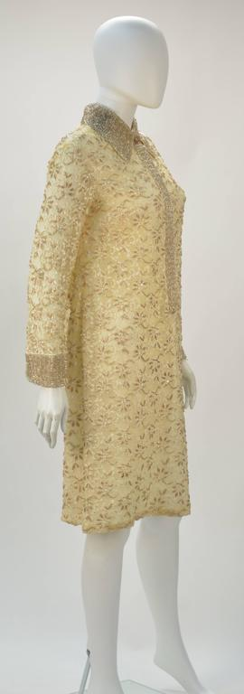 1960s Valentina LTD Cream Beaded Long Sleeve Cocktail Dress  2