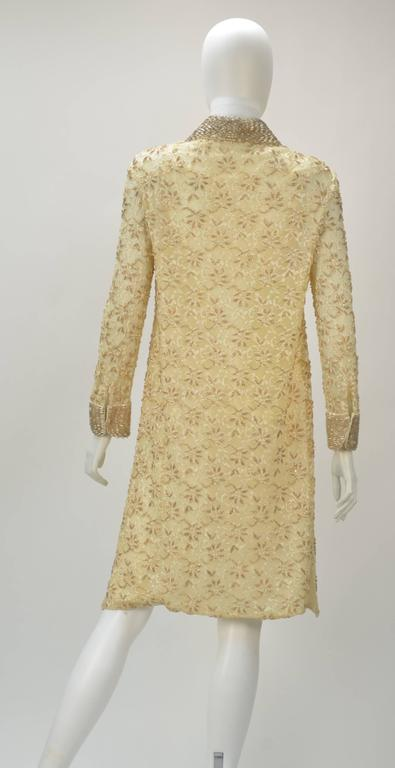 1960s Valentina LTD Cream Beaded Long Sleeve Cocktail Dress  3