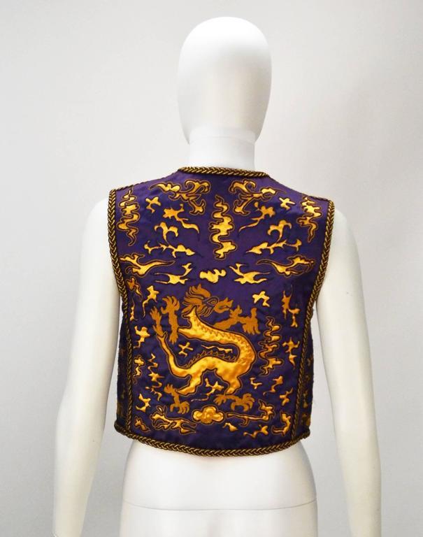 1960s Saint Laurent Rive Gauche Dragon Print Vest  3