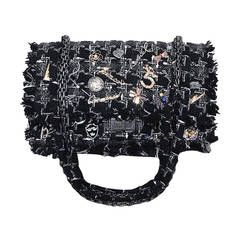 Chanel Black Tweed Charms Classic 10 inch 2.55 runway Edition double Flap Bag