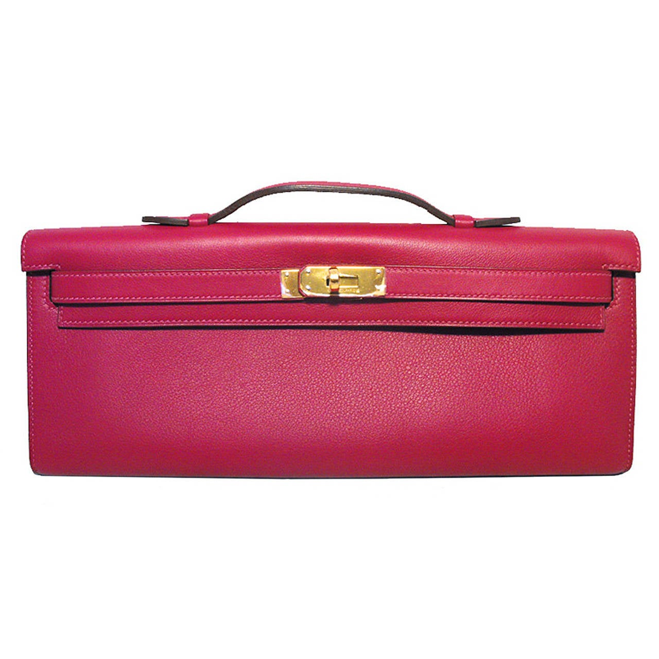 Hermes Fuchsia Swift Leather Kelly Cut Clutch Handbag  For Sale