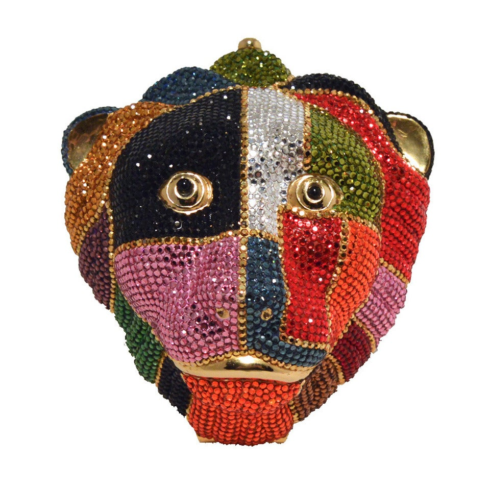 Judith Leiber Swarovski Crystal Multicolored Lion's Head Minaudiere