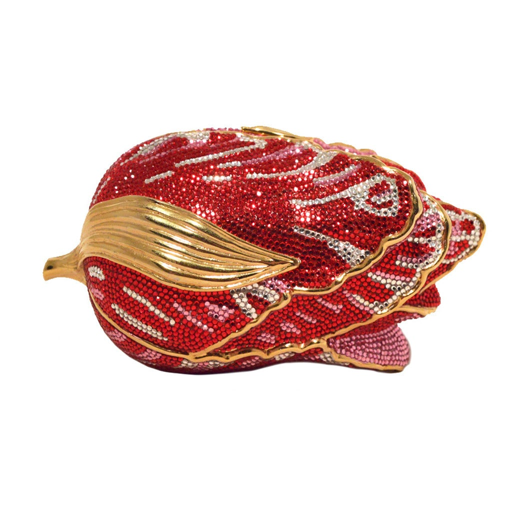 Judith Leiber Swarovski Crystal Red Rose Minaudiere Evening Bag For Sale