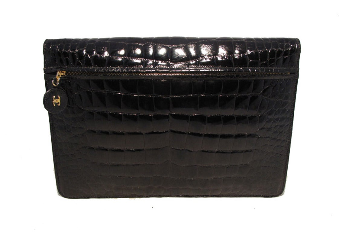 Chanel Black Alligator Oversized Clutch With Chain Strap 2