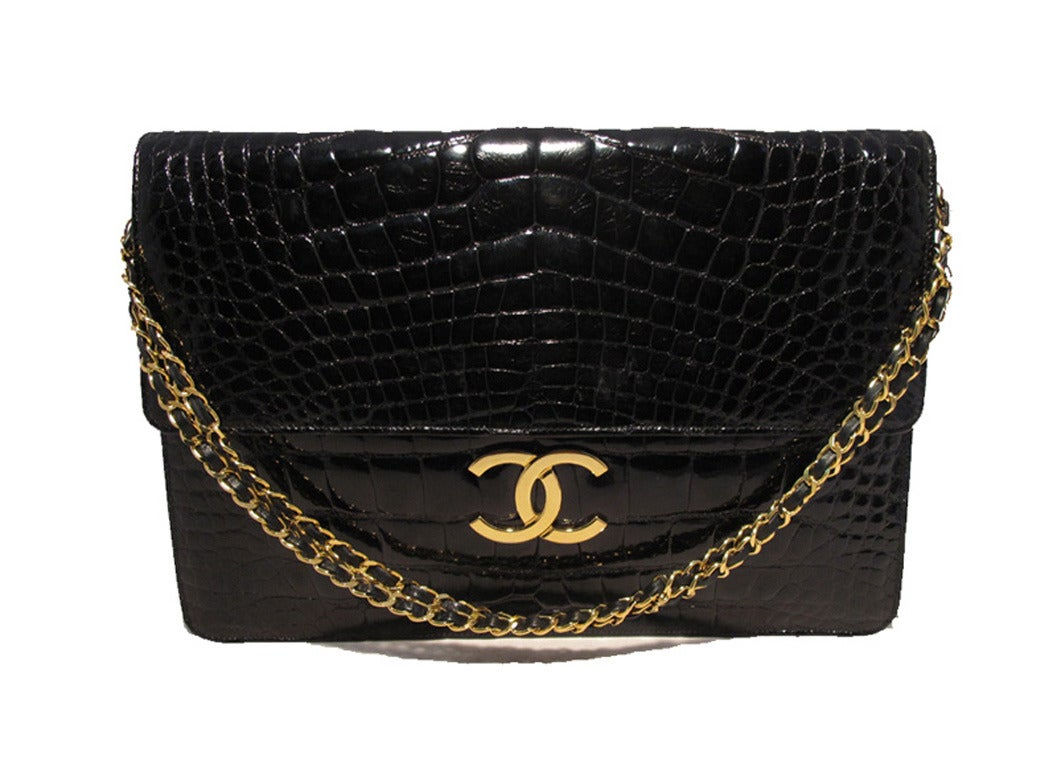 Chanel Black Alligator Oversized Clutch With Chain Strap 5