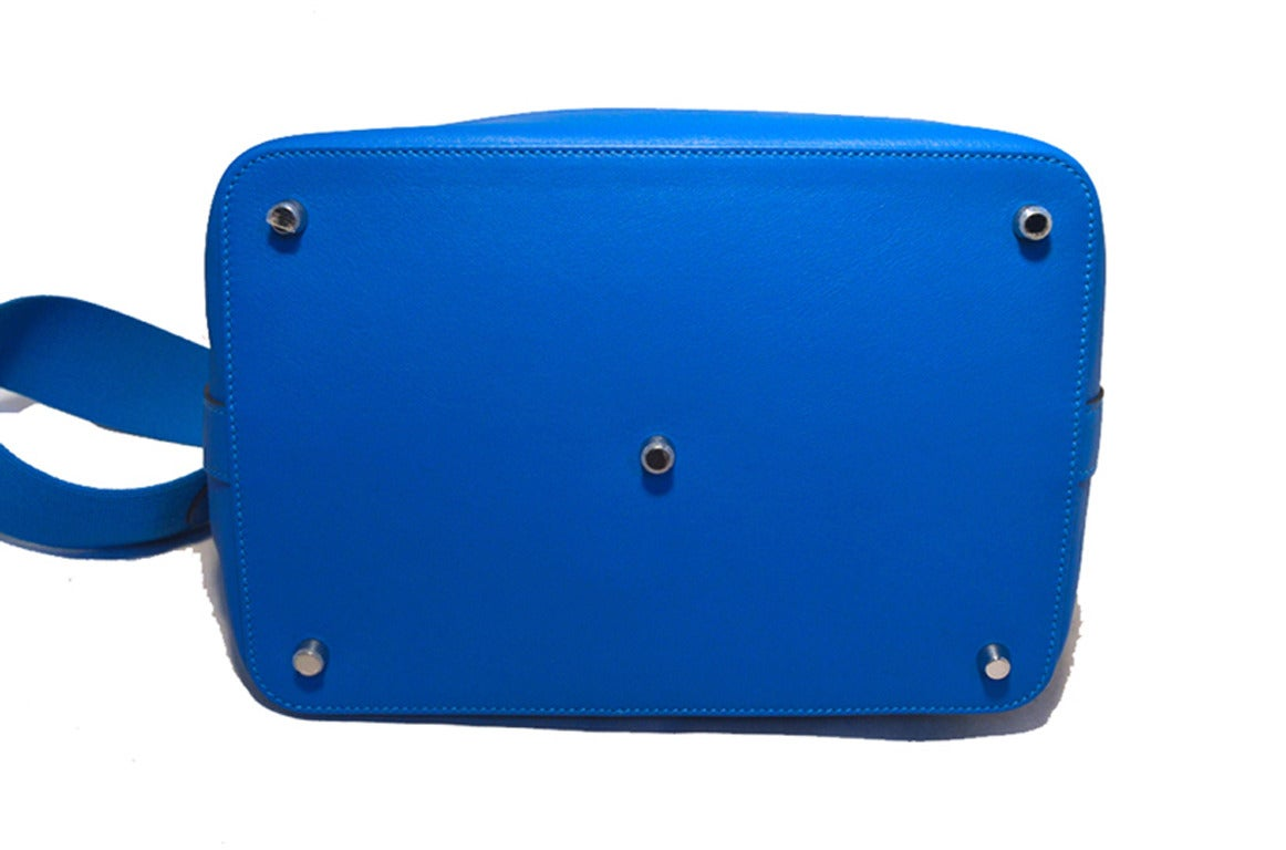 Women's Hermes 26cm Hydra Blue Swift Calf Leather Toolbox Bag  For Sale