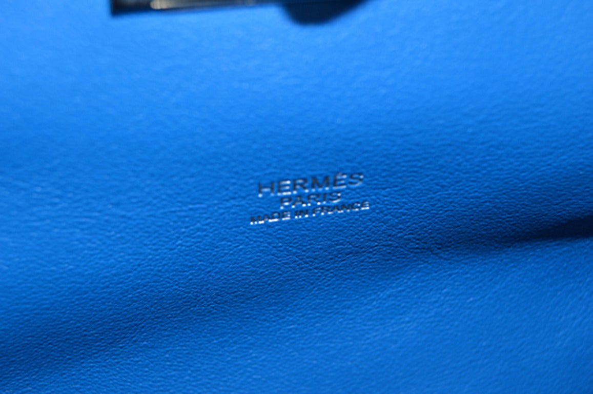 Hermes 26cm Hydra Blue Swift Calf Leather Toolbox Bag  For Sale 2