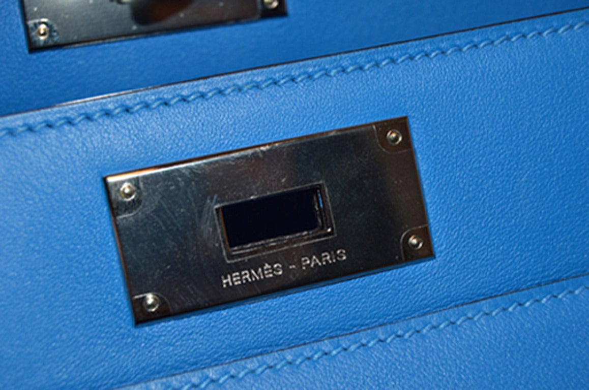 Hermes 26cm Hydra Blue Swift Calf Leather Toolbox Bag  For Sale 3
