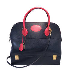 Hermes Vintage Navy and Red Courchevel Macpherson Bolide Bag