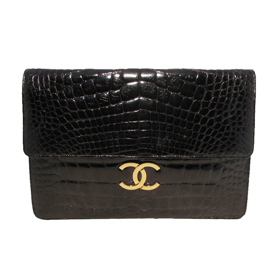 Chanel Black Alligator Oversized Clutch With Chain Strap 1
