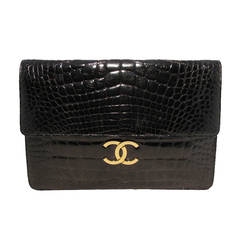 Chanel Black Alligator Oversized Clutch With Chain Strap