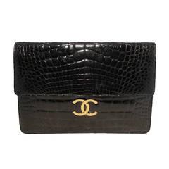 Chanel Black Vintage Alligator Oversized Clutch With Chain Strap