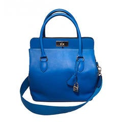 Hermes 26cm Hydra Blue Swift Calf Leather Toolbox Bag