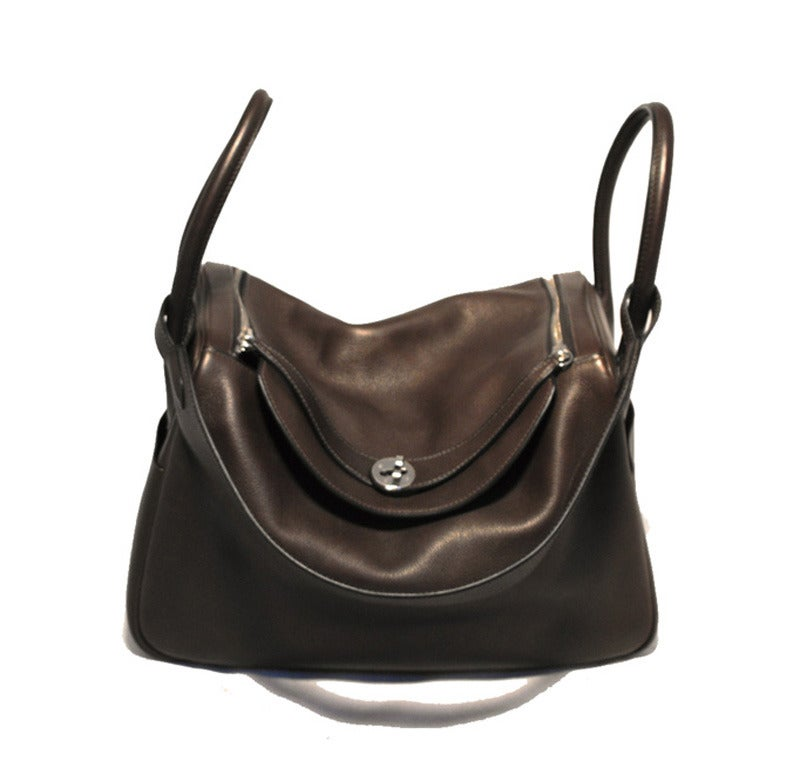 GORGEOUS HERMES chocolate brown lindy bag in very good condition. Brown  swift leather exterior with 177607ede9