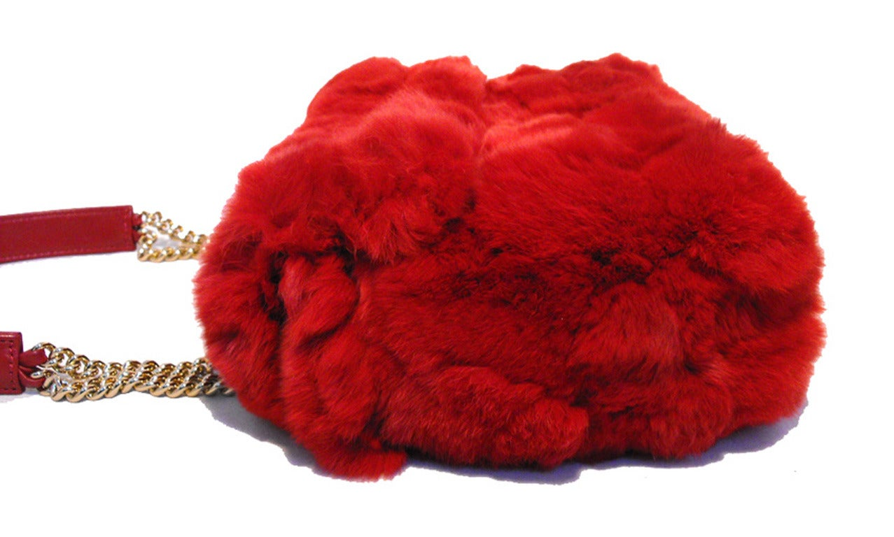 Chanel Red Rabbit Fur Classic Limited Edition Flap Bag In Excellent Condition For Sale In Philadelphia, PA
