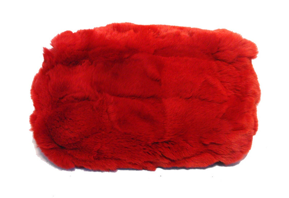 Women's Chanel Red Rabbit Fur Classic Limited Edition Flap Bag For Sale