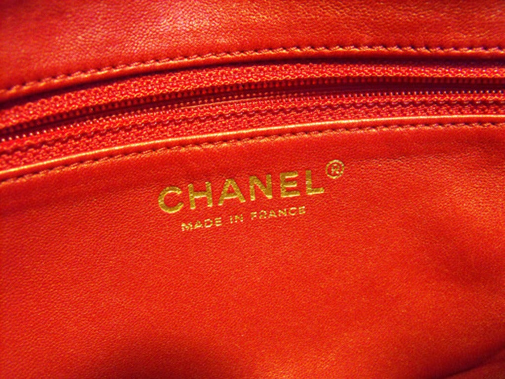 Chanel Red Rabbit Fur Classic Limited Edition Flap Bag For Sale 1