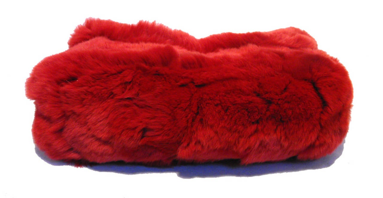 Chanel Red Rabbit Fur Classic Limited Edition Flap Bag For Sale 2