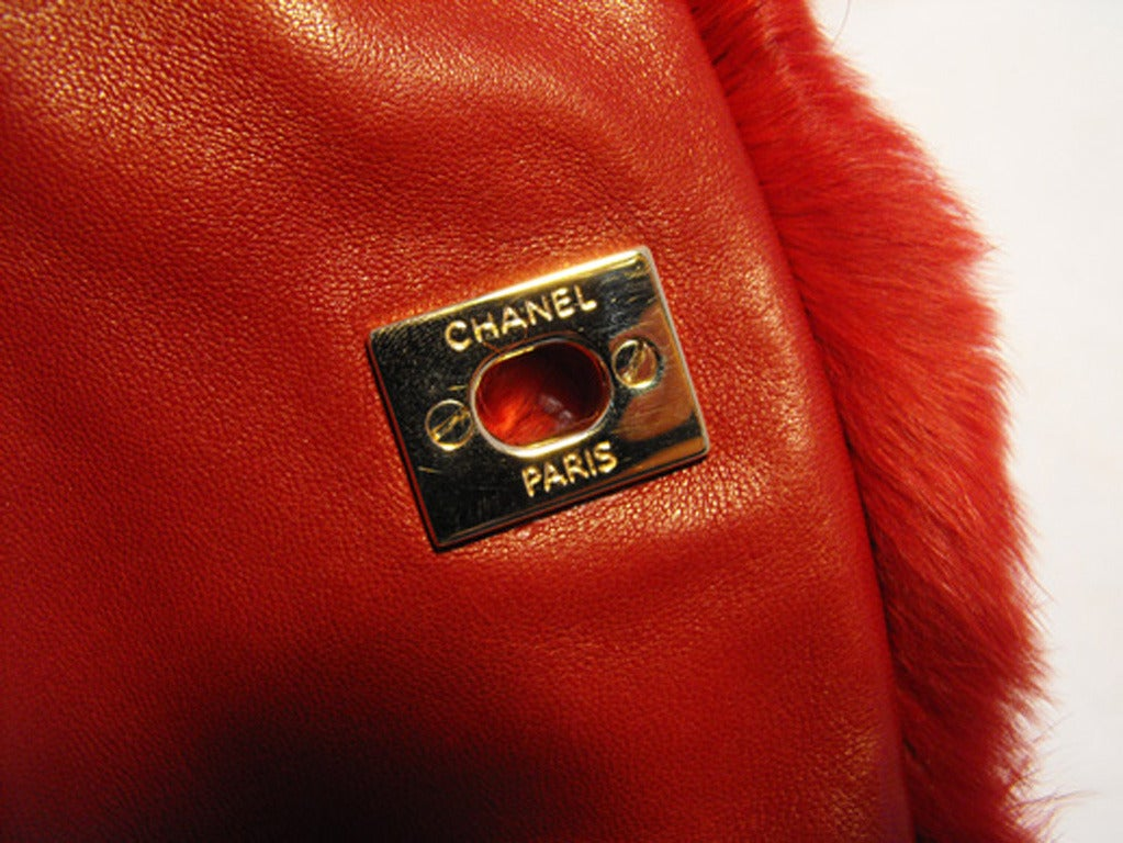 Chanel Red Rabbit Fur Classic Limited Edition Flap Bag For Sale 3