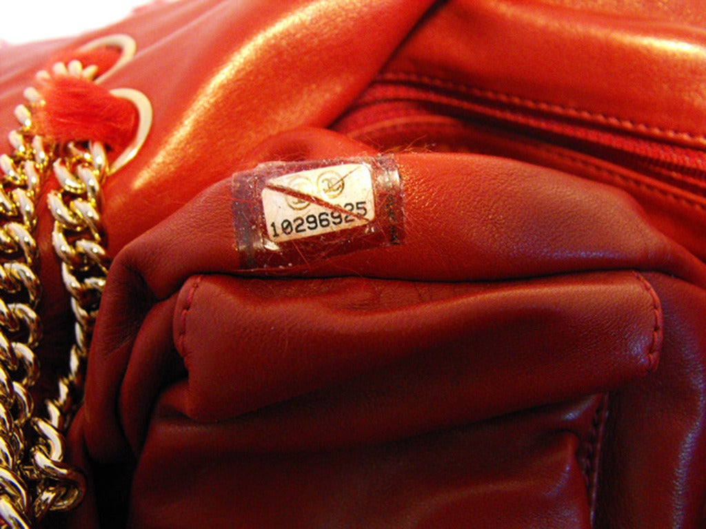 Chanel Red Rabbit Fur Classic Limited Edition Flap Bag For Sale 4