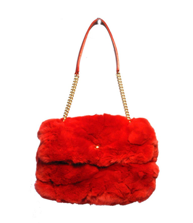 Chanel Red Rabbit Fur Classic Limited Edition Flap Bag For Sale 5